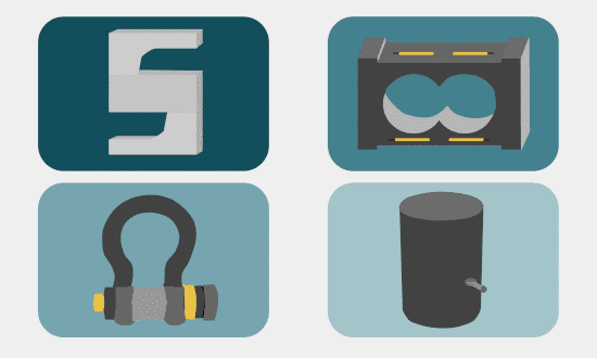 Load Cells Illustration: S-Type (top left), Single Point (top right), Shackle (bottom left), Canister (bottom right)