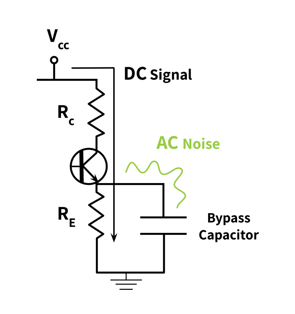 electrical schematic of a bypass capacitor