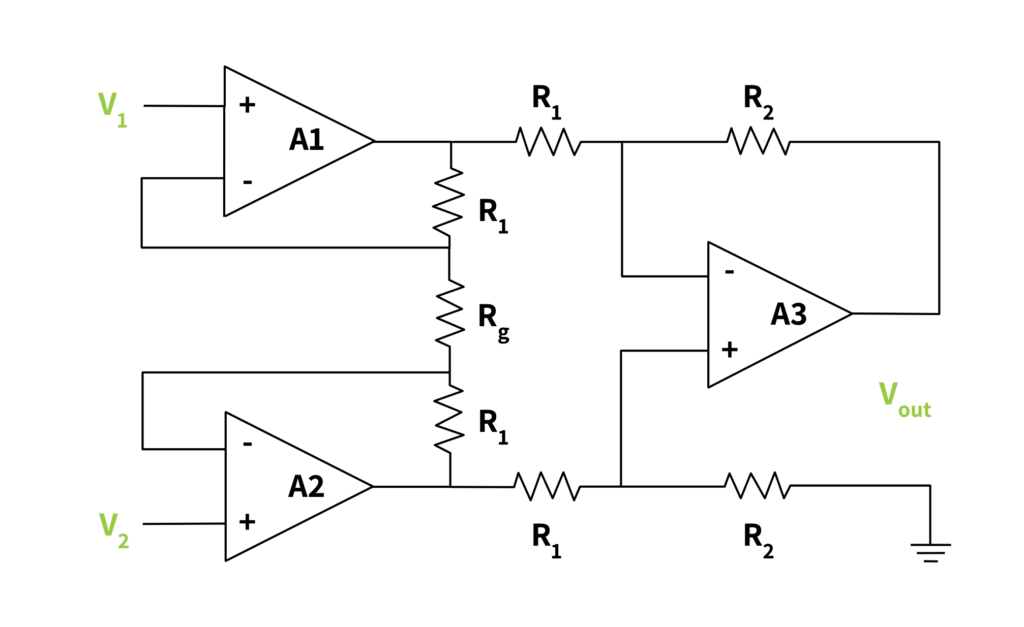 electrical schematic of an instrumentation amplifier
