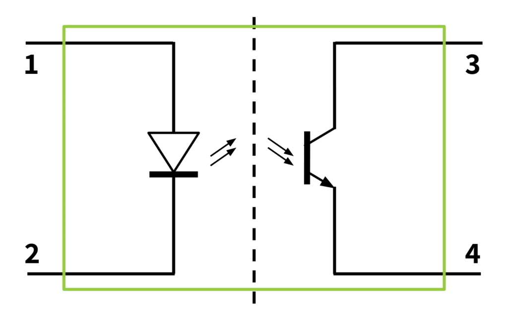 electrical schematic of optocoupler device