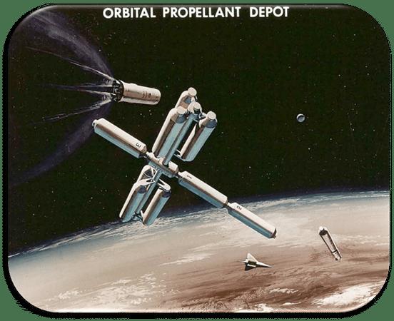 artist rendering of orbital propellant depot