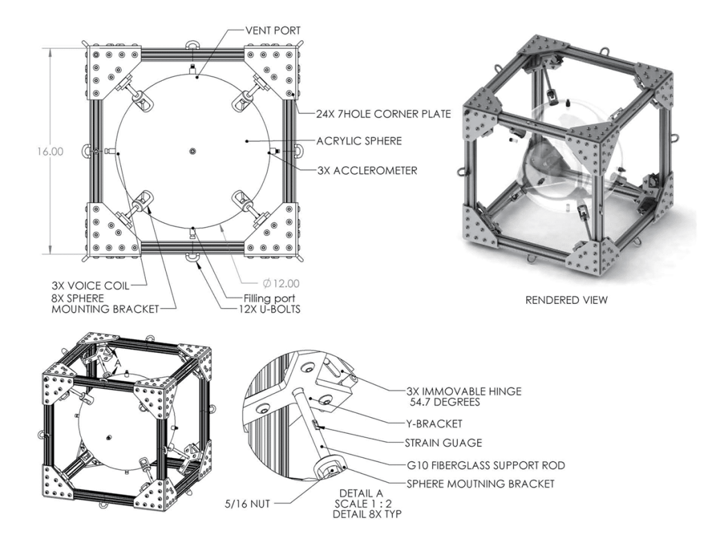 3D computer drawings of second experiment support structure