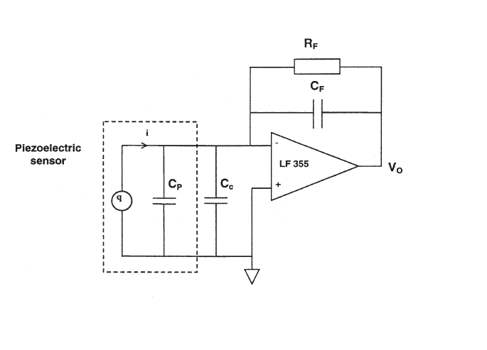 Schematic of the Piezoelectric sensor and charge amplifier