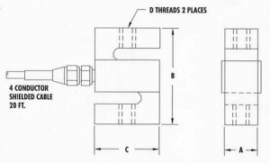 Figure 7: An STA Series S-Type/S-Beam Aluminum Load Cell SAE Thread diagram manufactured by AmCells.
